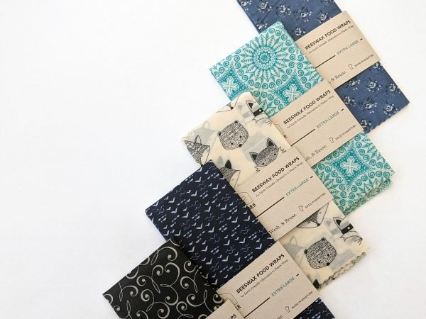 Images of 5 extra-large beeswax food wraps